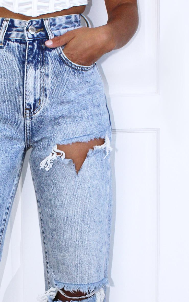 Petite Ice Blue Ripped Split Hem Jeans 4