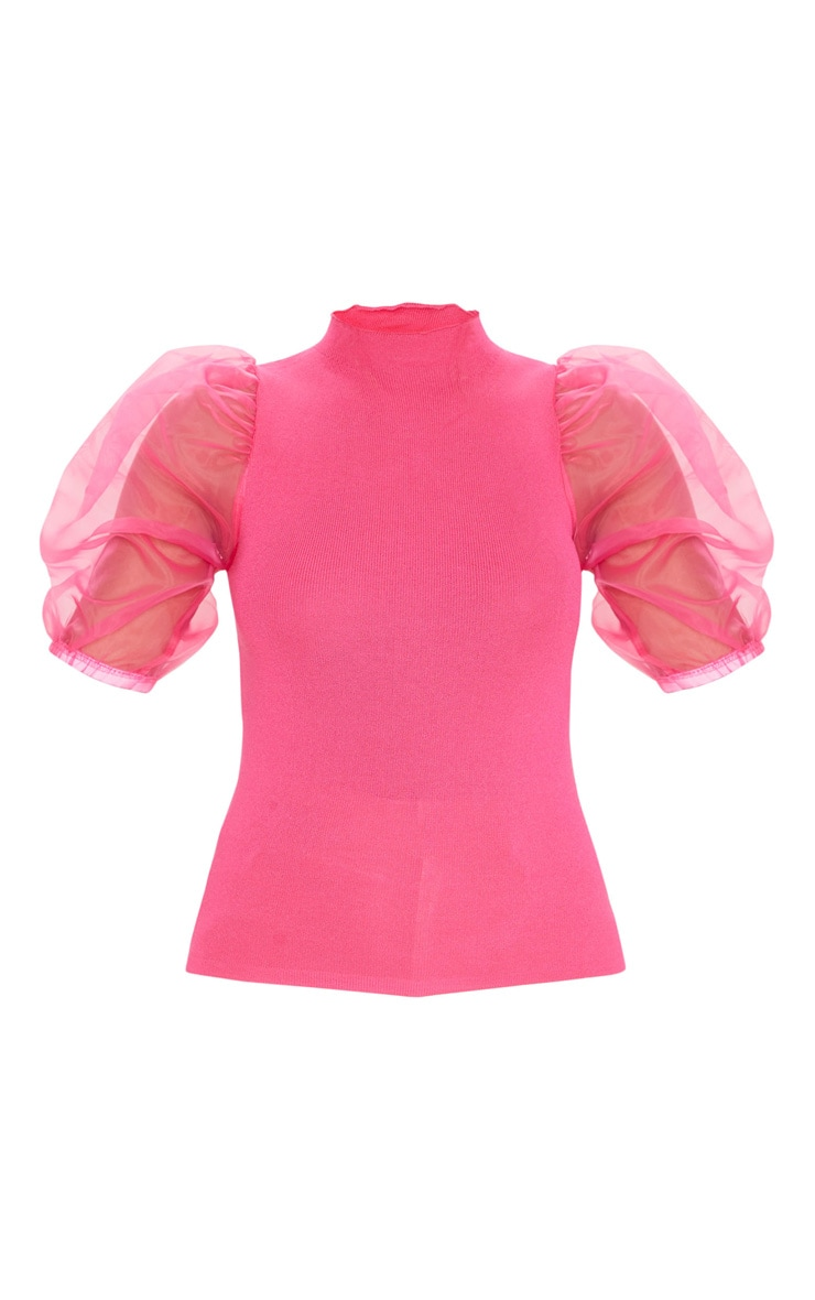 Hot Pink Organza Puff Sleeve Knitted Top 5