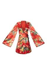 432c58ec07de Red Oriental Contrast Kimono Wrap Dress image 3