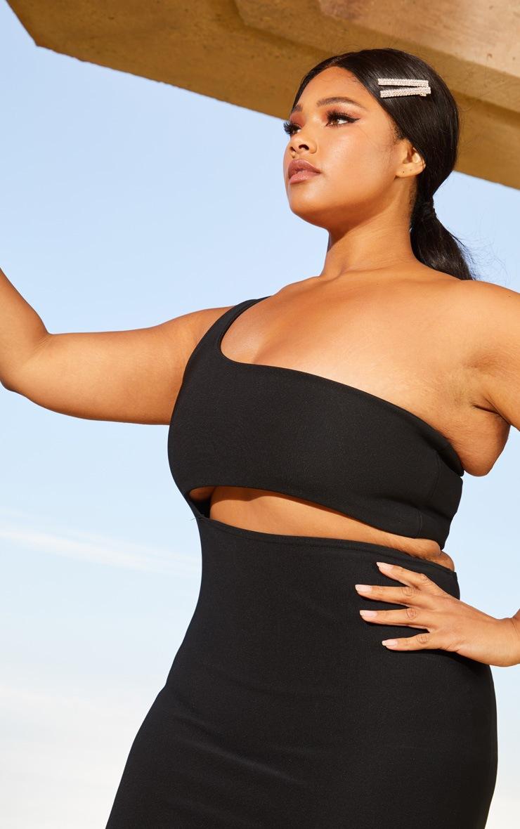 Plus Black Second Skin One Shoulder Cut Out Midaxi Dress 5