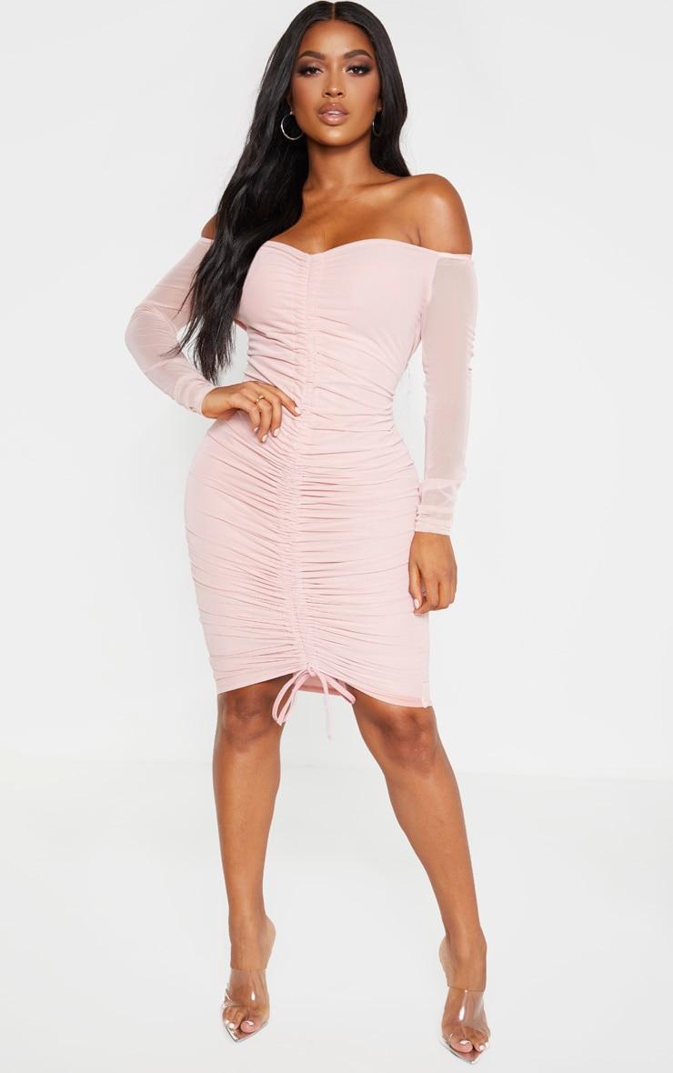 Shape Dusty Rose Mesh Ruched Bardot Midi Dress 4