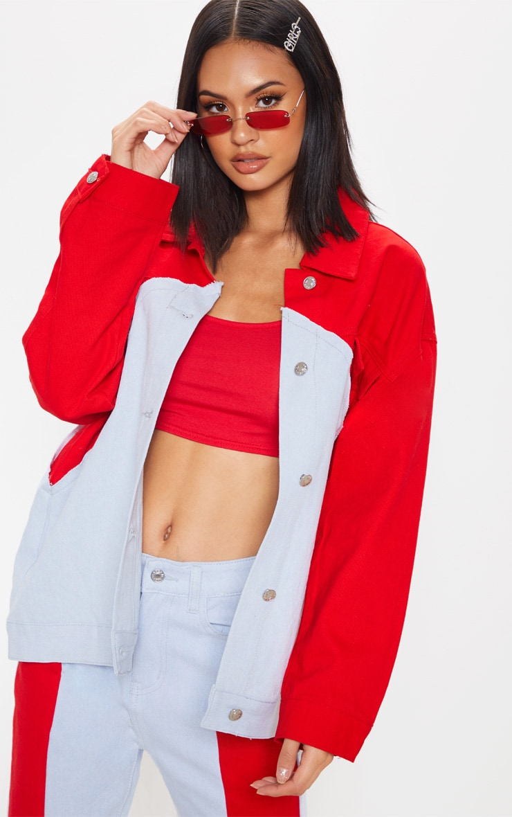 Red Two Tone Denim Jacket 1