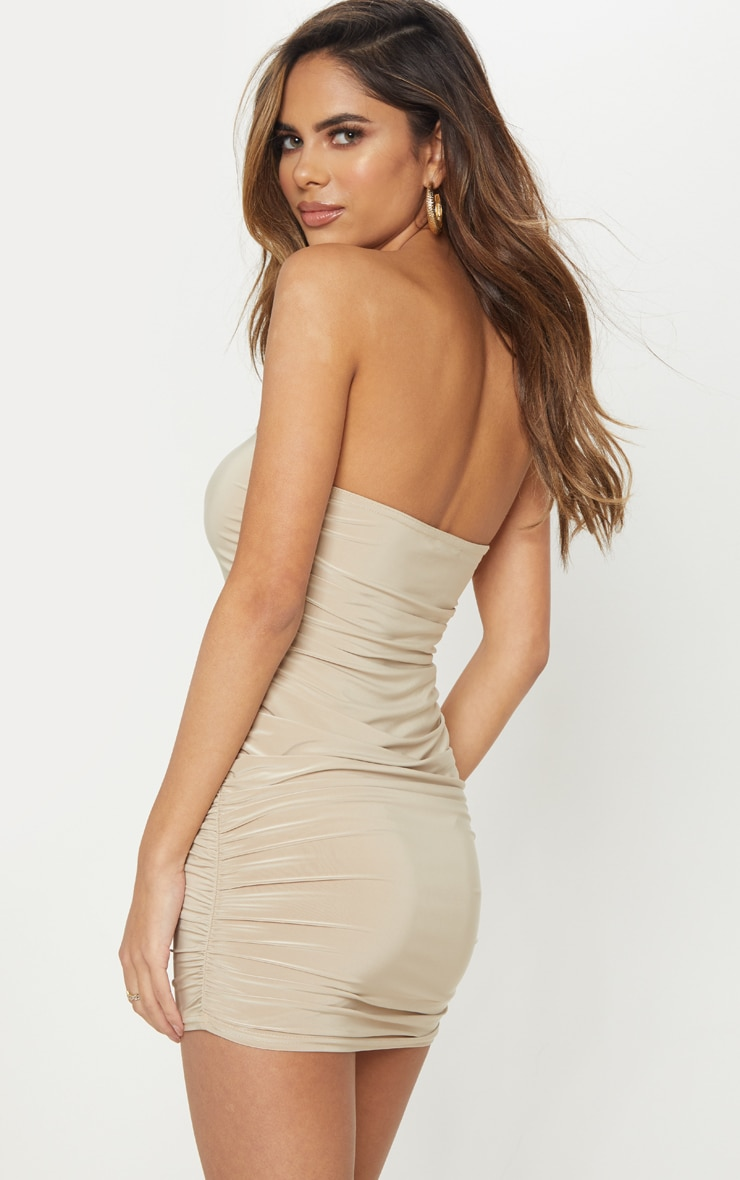 Stone Ruched Slinky Bandeau Bodycon Dress  2