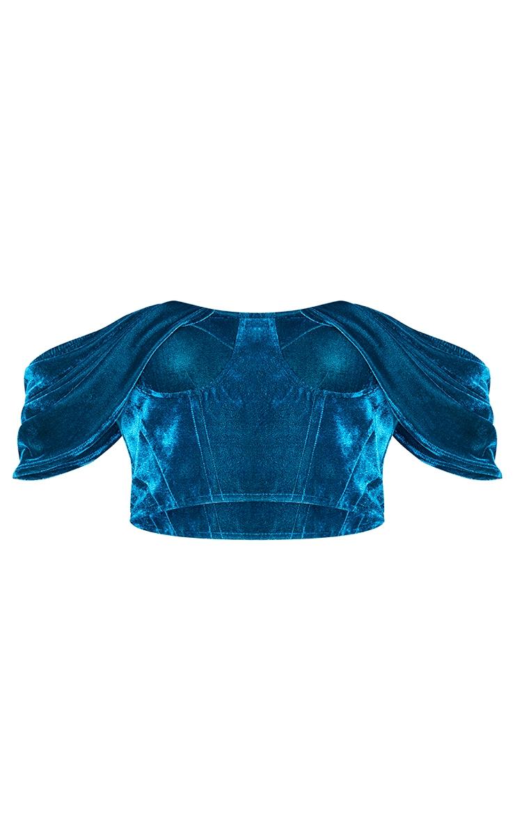 Teal Velvet Bardot Draped Sleeve Corset 5