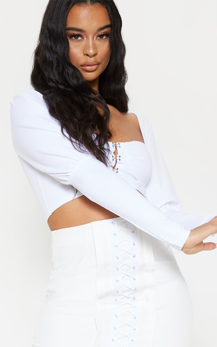 White Hook And Eye Long Sleeve Crop Top 5