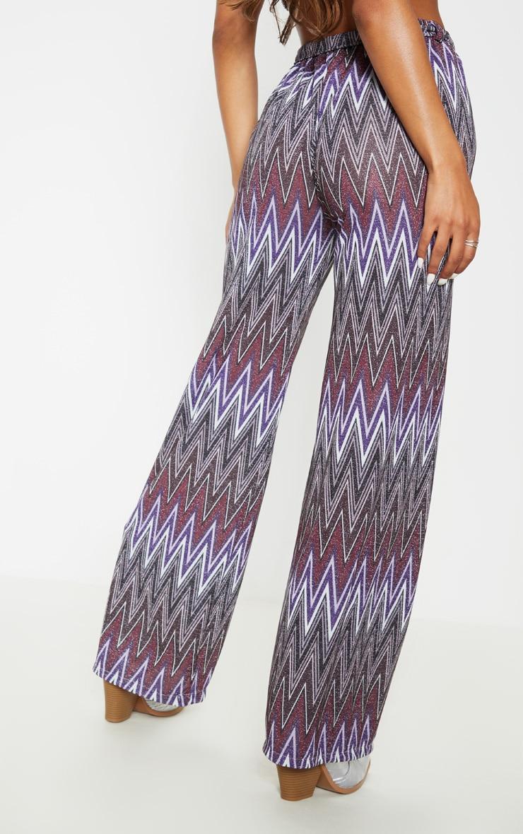 Multi Textured Glitter Tie Waist Crop Pant 4