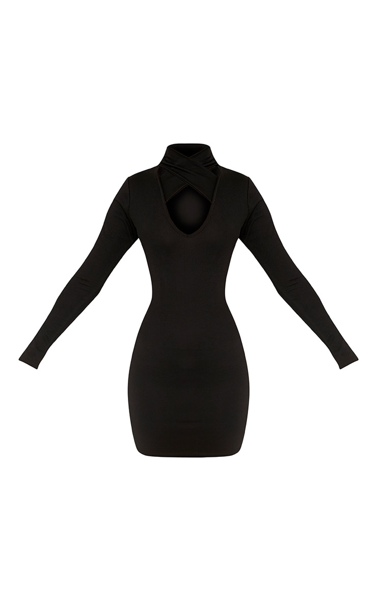 Maryana Black Plunge Choker Neck Bodycon Dress 3