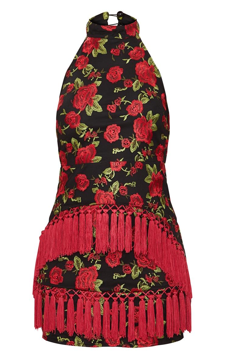 Black Floral Embroidered Tassel Trim Halterneck Bodycon Dress 4