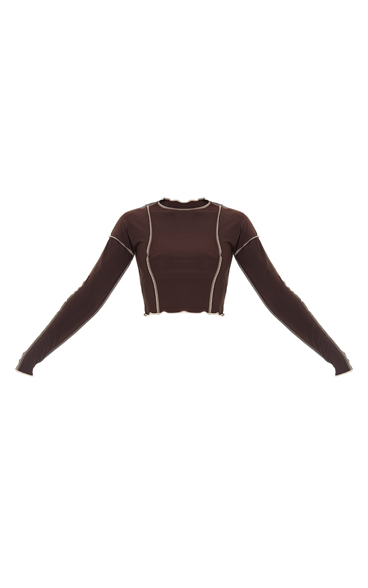 Tall Chocolate Contrast Seam Detail Soft Touch Crop Top 5