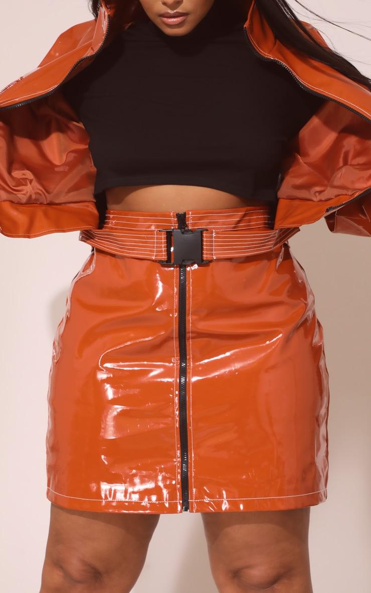 Plus Toffee Vinyl Zip Detail Mini Skirt  6