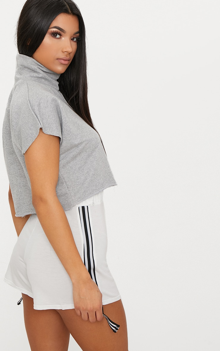 Grey Boxy Funnel Neck Cut Off Sweater  2