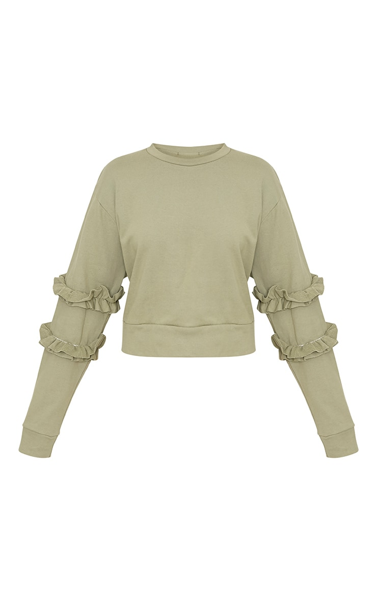 Venetia Sage Green Frill Detail Sleeve Sweater 3