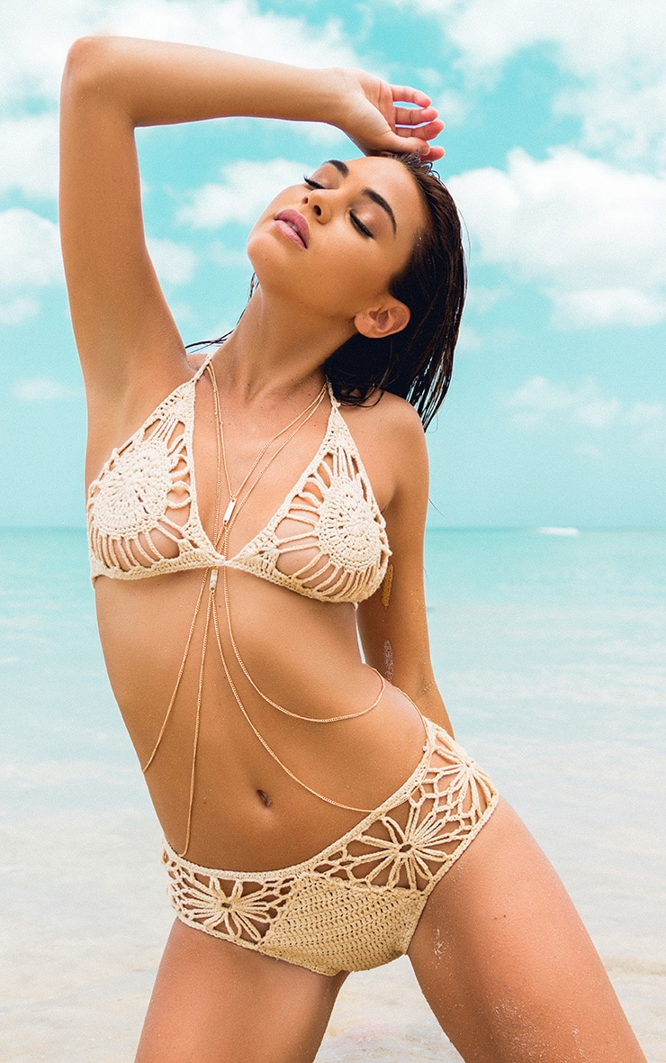 Maddy Beige Crochet Bikini 1