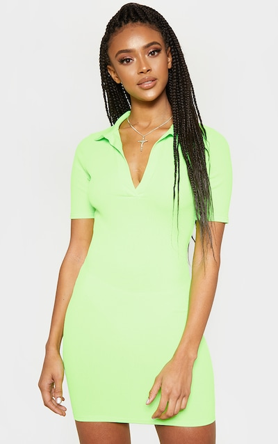 c549210a99c Green Neon Ribbed Polo Shift Dress