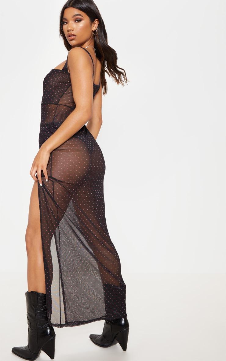 Black Polka Dot Sheer Mesh Strappy Split Maxi Dress 2