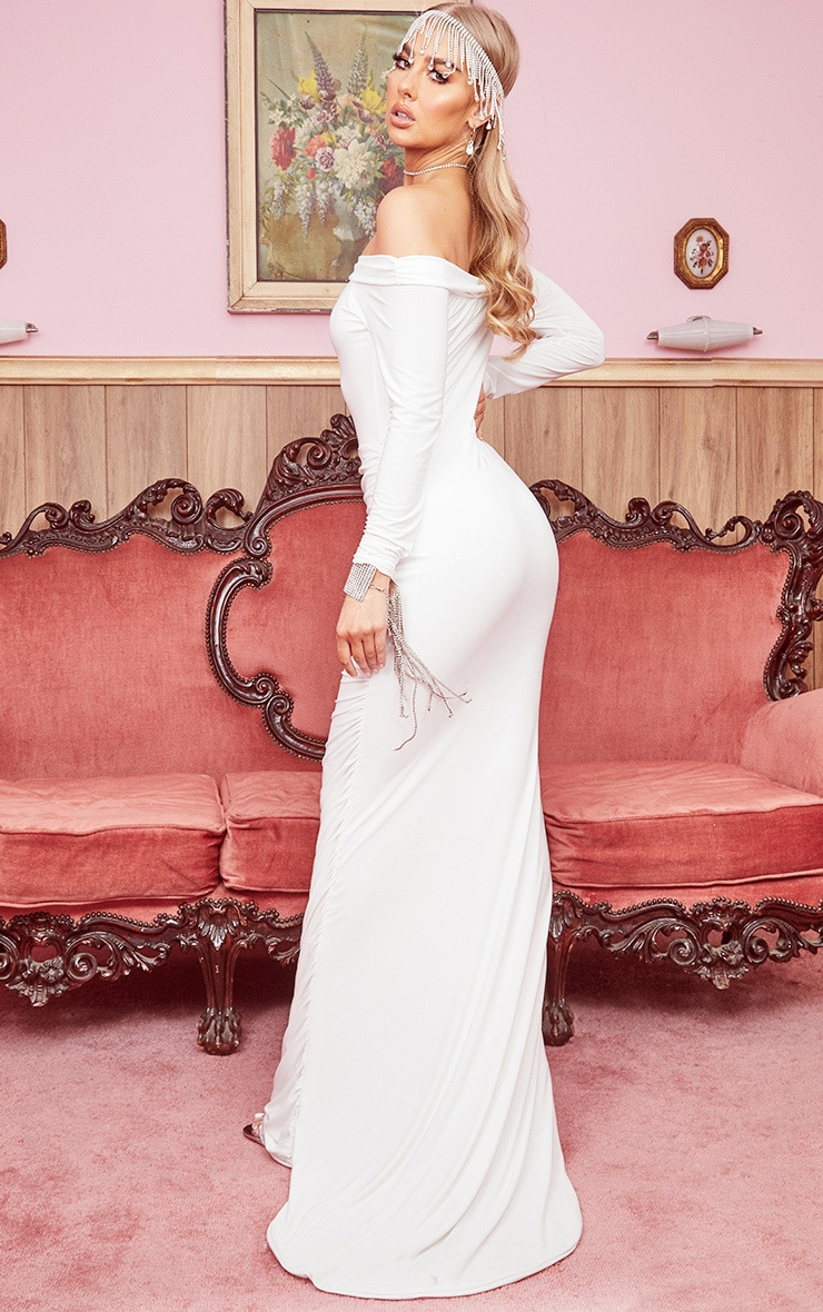 White Slinky Bardot Ruched Long Sleeve Maxi Dress 2
