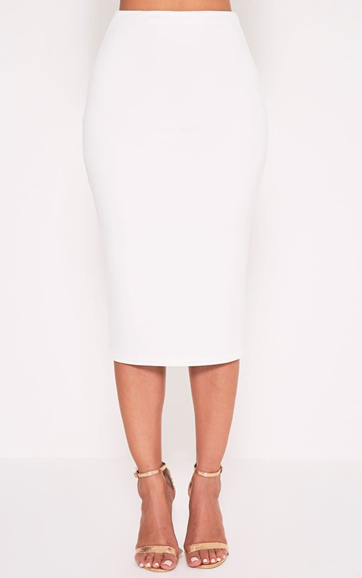 Fillipa Cream Scuba Midi Skirt 2