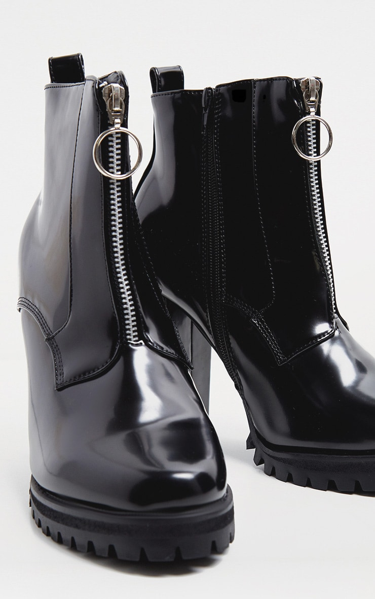 Black Zip Front Platform Boot 3