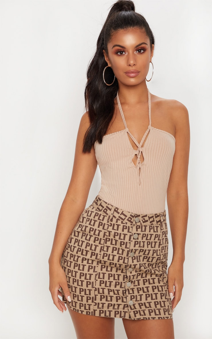 Nude Ribbed Halterneck Lace Up Bodysuit 2