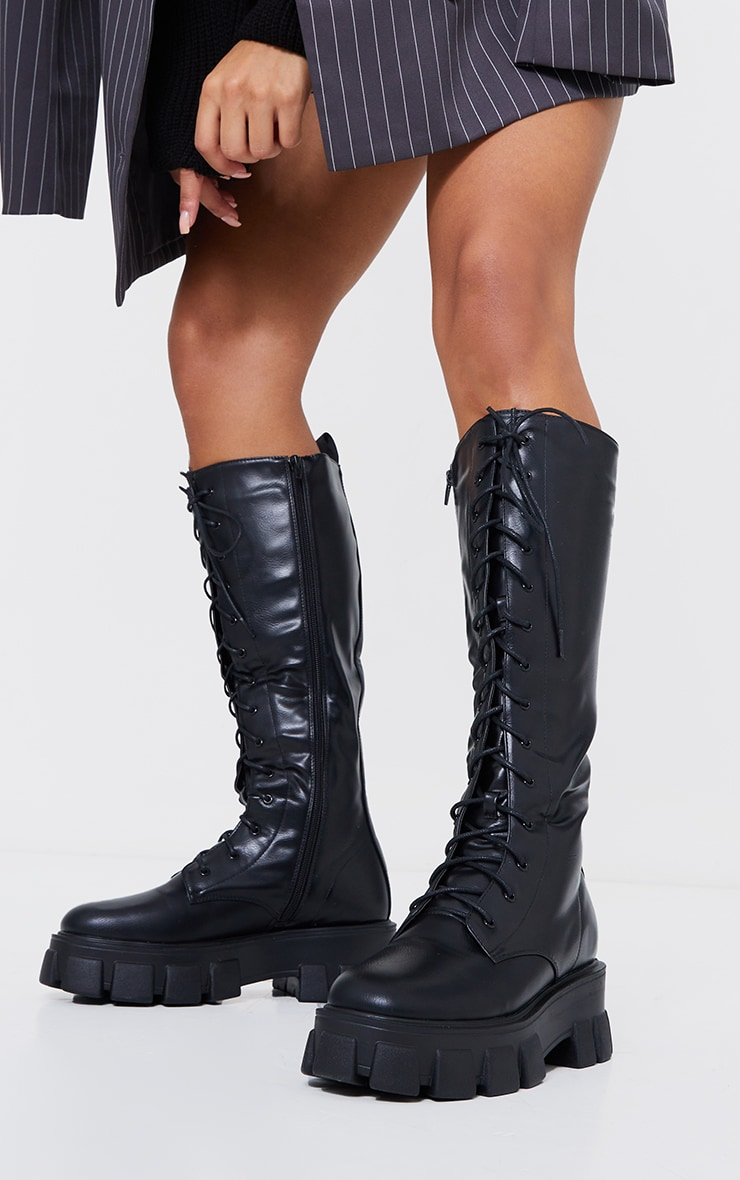 Black Pu Extreme Cleated Lace Up Knee High Boots 2