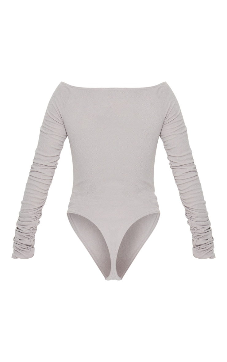 Grey Bardot Zip Ruched Sleeve Bodysuit 6
