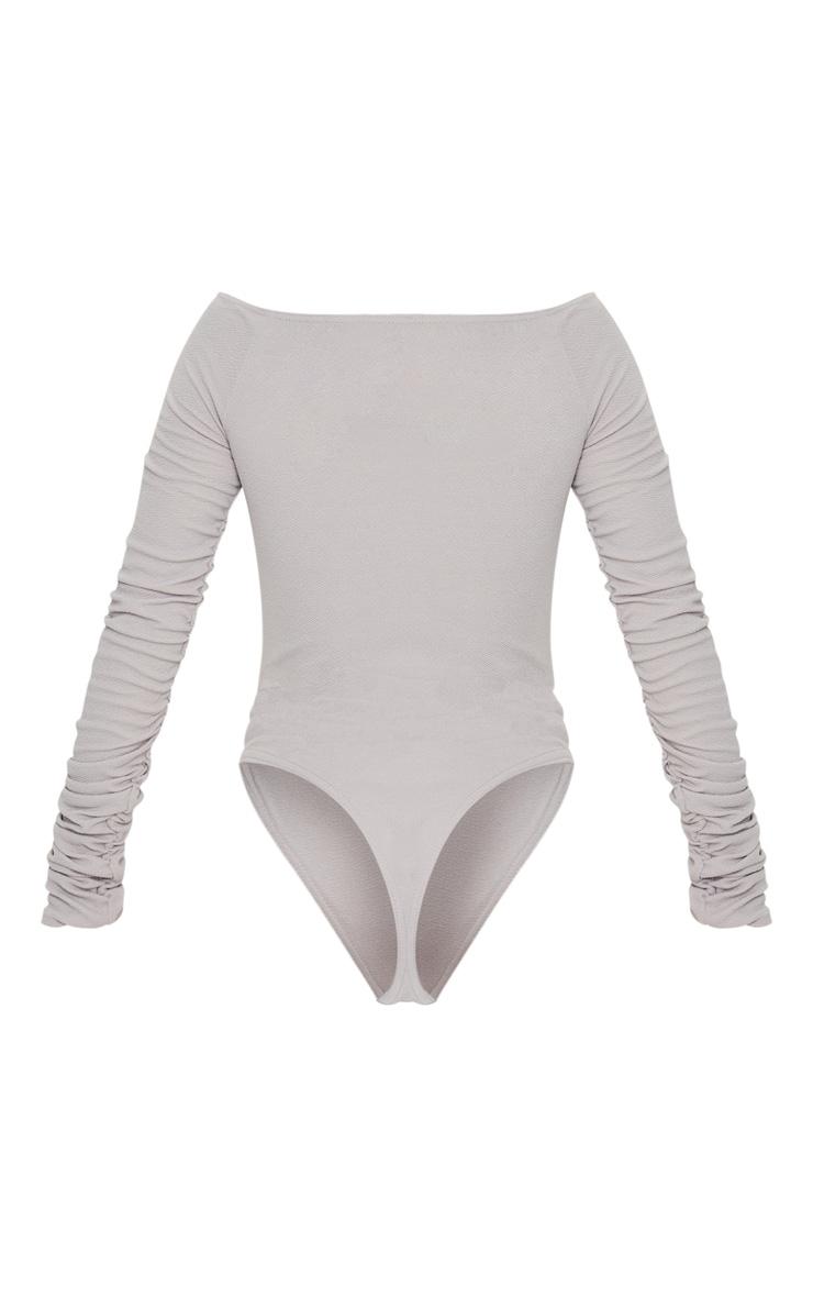 Grey Bardot Zip Ruched Sleeve Bodysuit 6