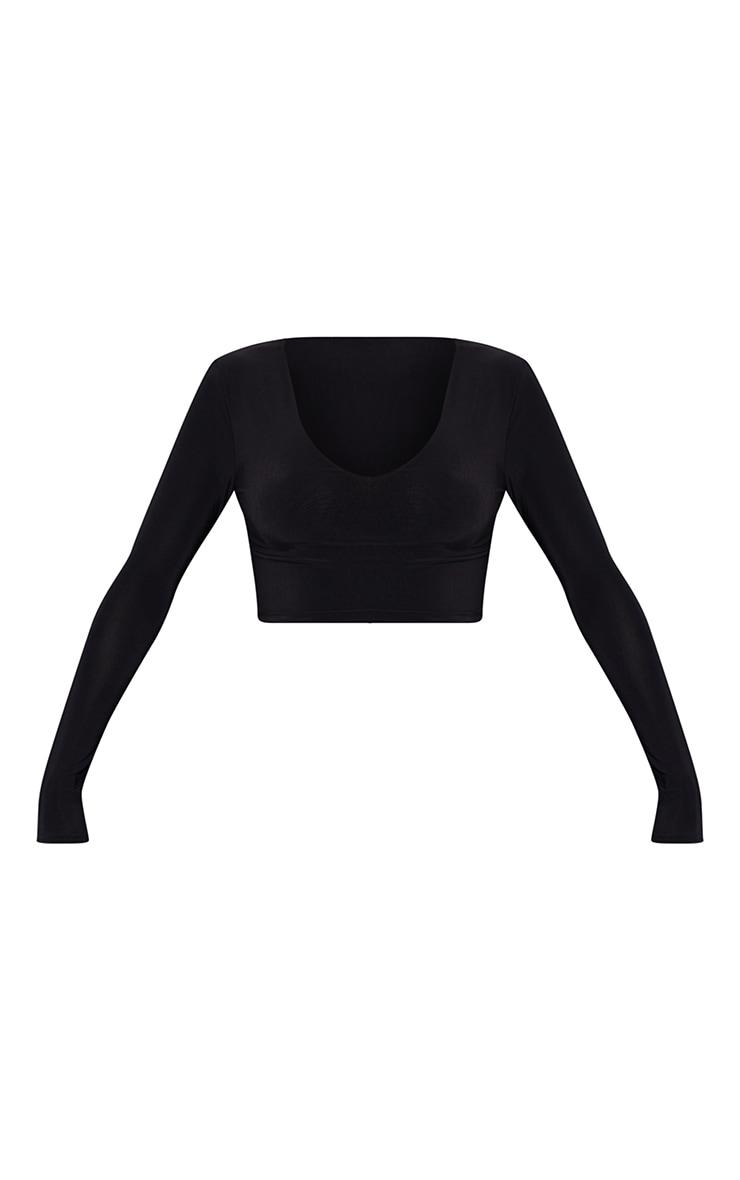 Black Second Skin Long Sleeve V Neck Crop Top  5