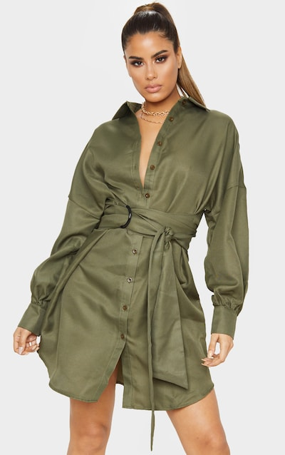 Tall Khaki Belted Tie Shirt Dress