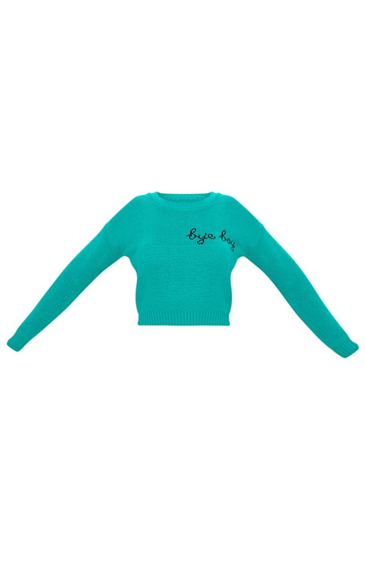 Emerald Green Bye Boy Slogan Jumper 3