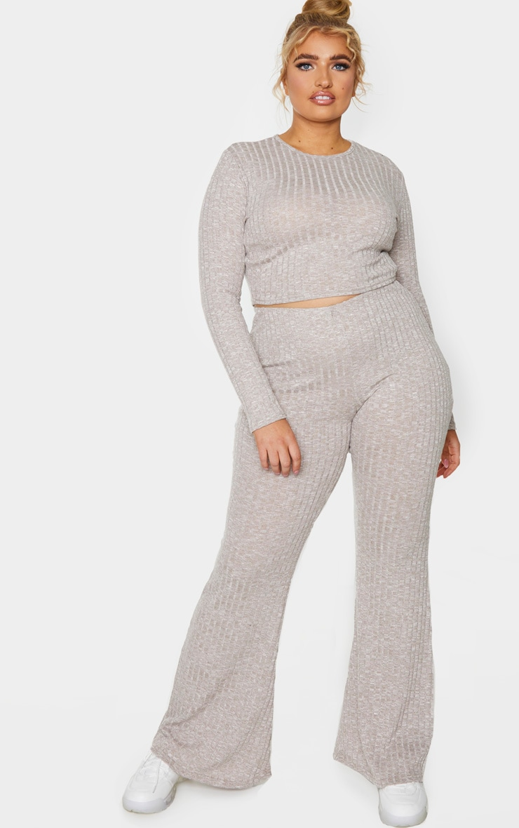Plus Sand Knitted Ribbed Wide Leg Trouser 1
