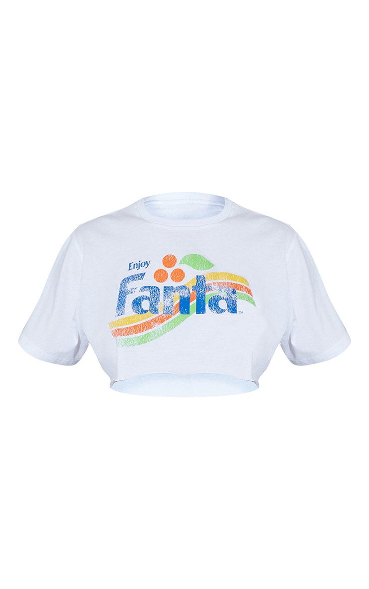 White Fanta Print Crop T Shirt 5