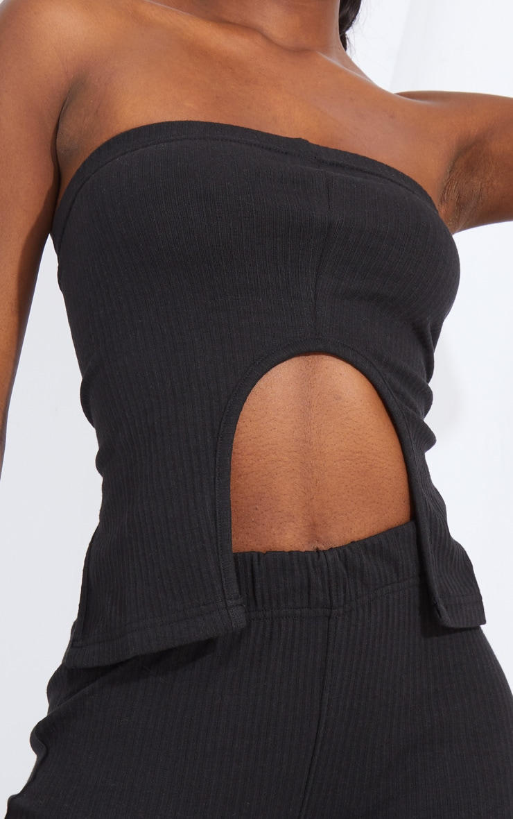 Tall Black Split Front Ribbed Bandeau Top 4