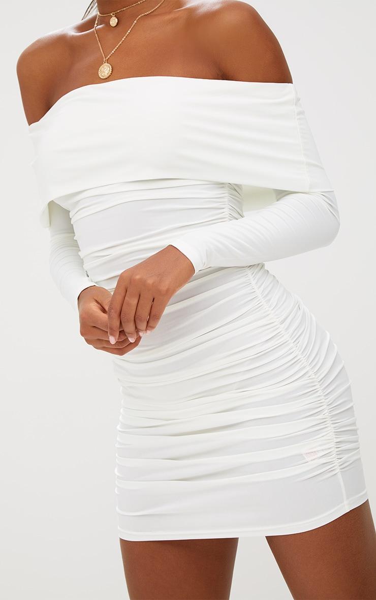 White Long Sleeve Bardot Ruched Bodycon Dress 5