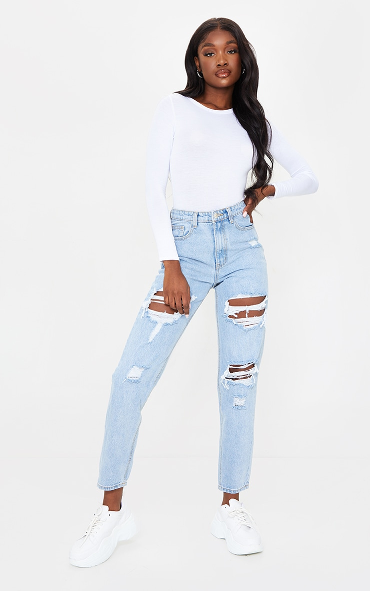 PRETTYLITTLETHING Tall Light Blue Distressed Mom Jeans 1