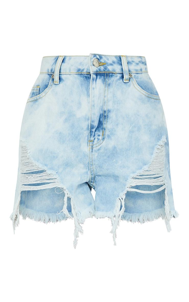 Blue Tie Dye Mom Denim Shorts 6