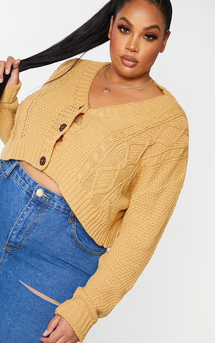 Plus Camel Cable Cropped Cardigan 3