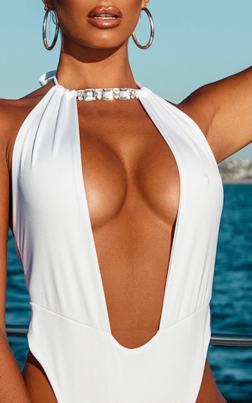 White Diamante Backless Swimsuit 4