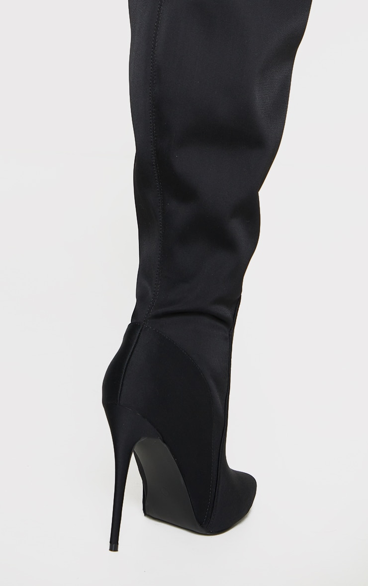 Black Lycra Thick Thigh High Stiletto Heeled Sock Boots 2