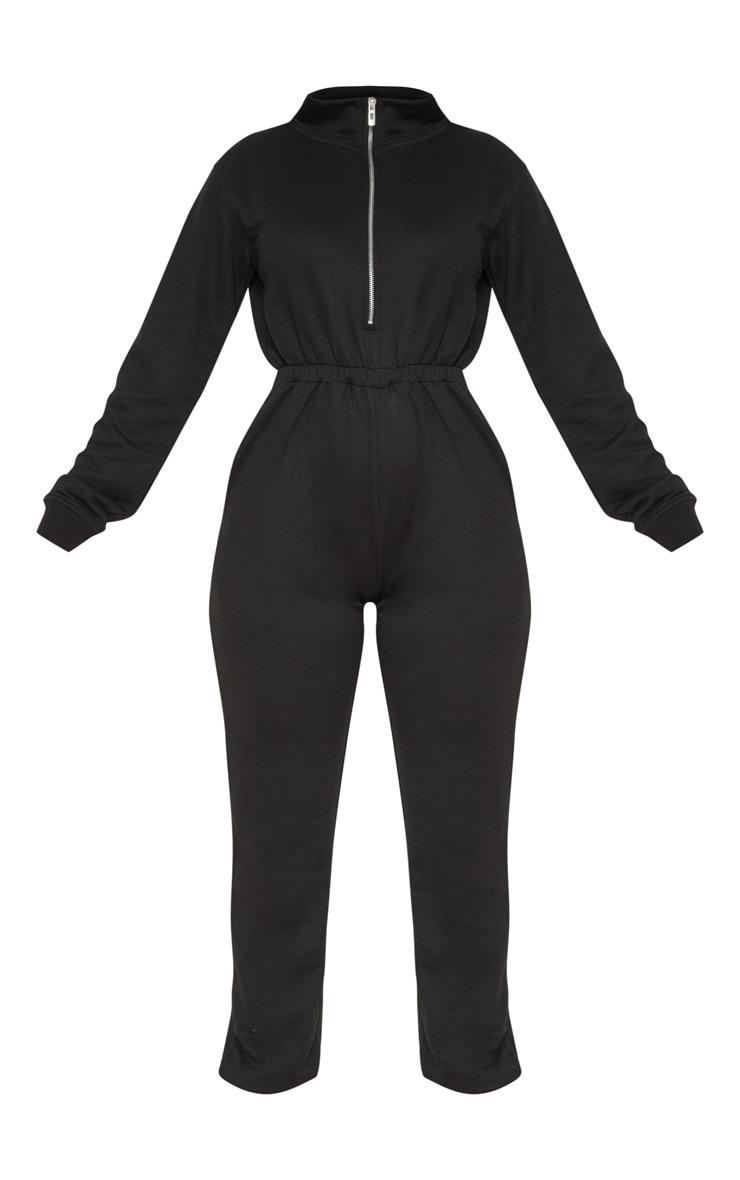 Black Funnel Neck Zip Up Loop Back Jumpsuit 3