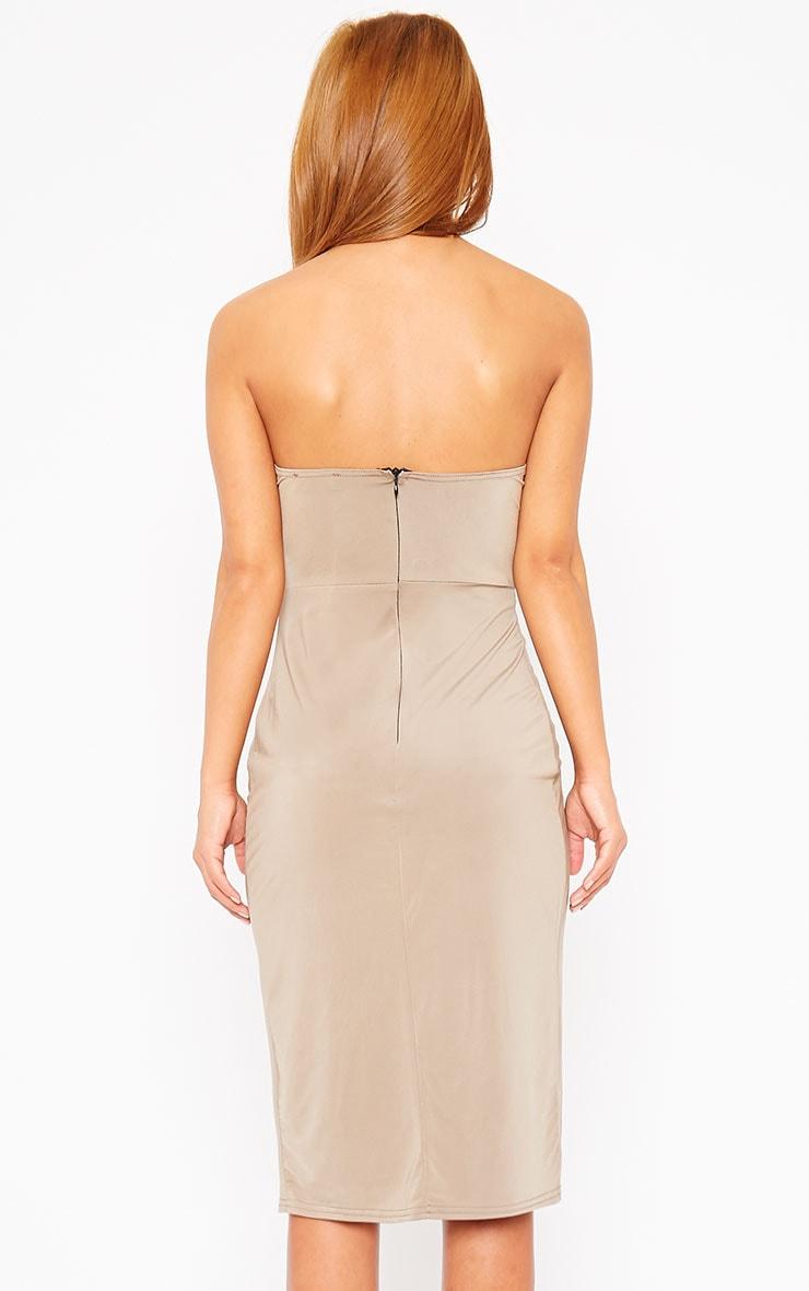 Chelsea Mocha Slinky Strapless Split Front Mini Dress 2