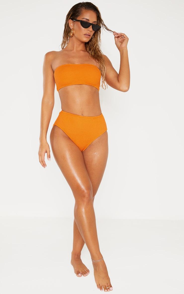 Orange Crinkle Bandeau Strapless Bikini Top 4