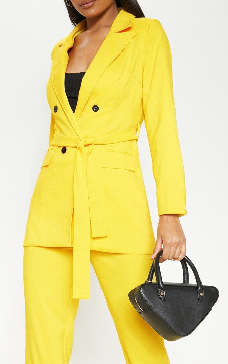Bright Yellow Belted Long Line Woven Blazer    5