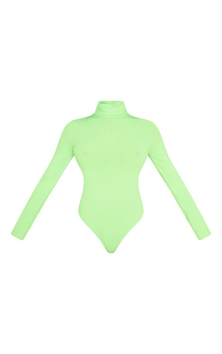 Tall Neon Green Rib High Neck Bodysuit 3