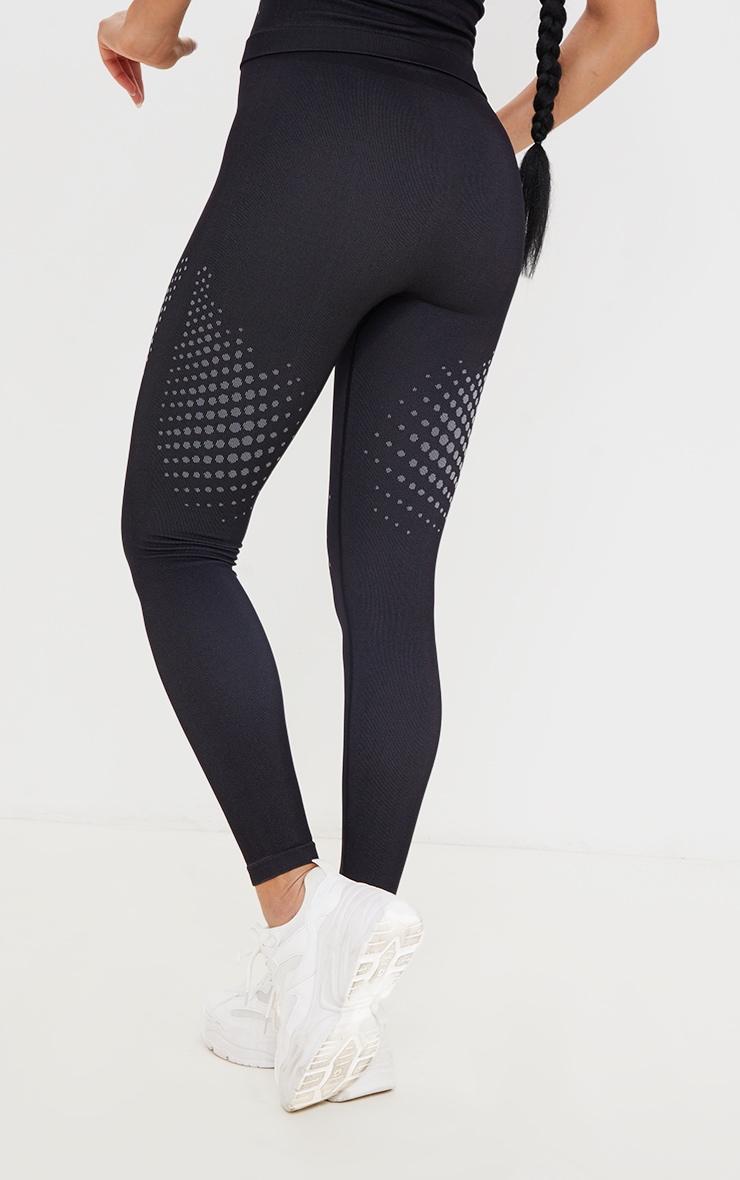 Legging noir sans coutures détail contours pois sur les cuisses 3