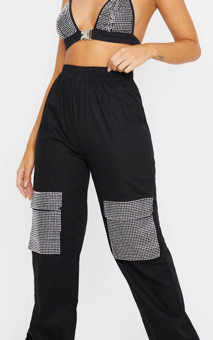Black Diamante Pocket Detail Cargo Pants 6