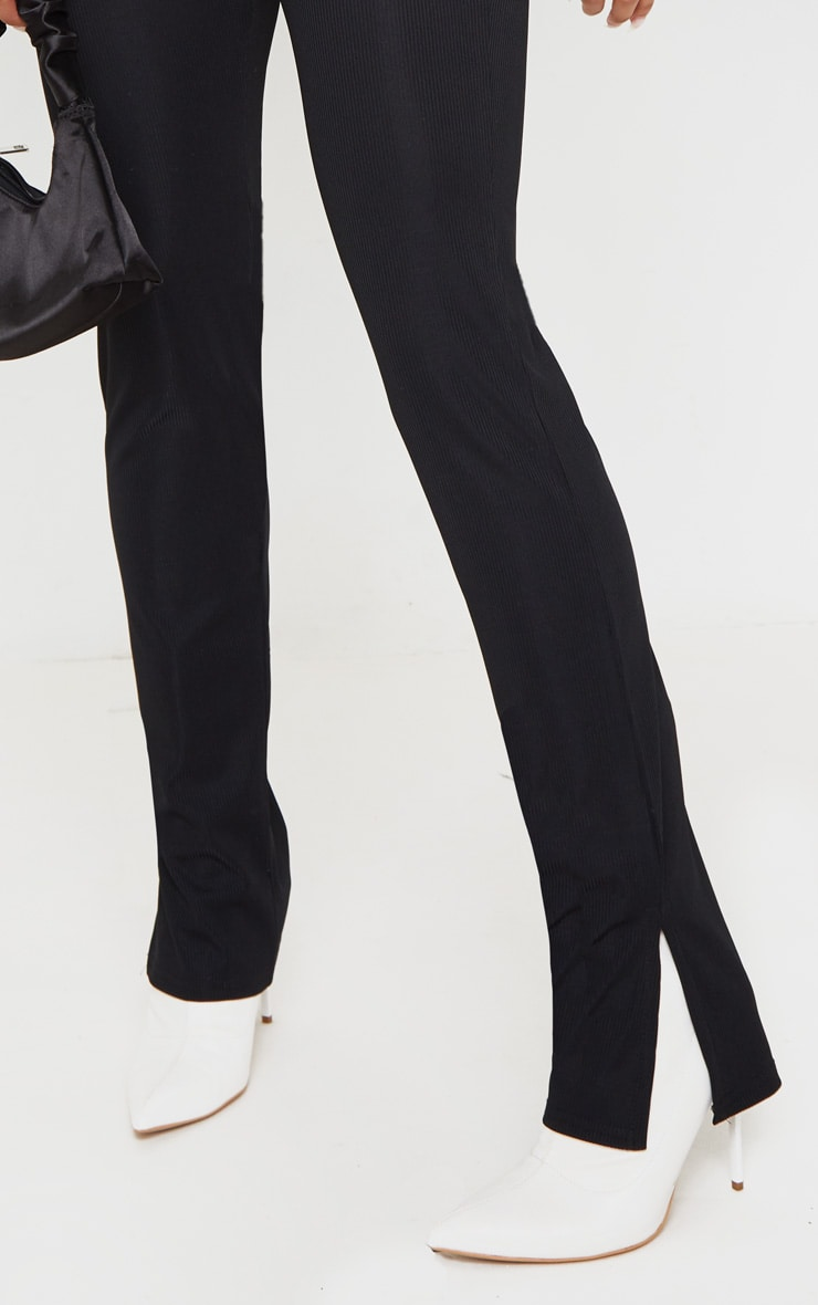 Black Ribbed Skinny Split Hem Trouser 5
