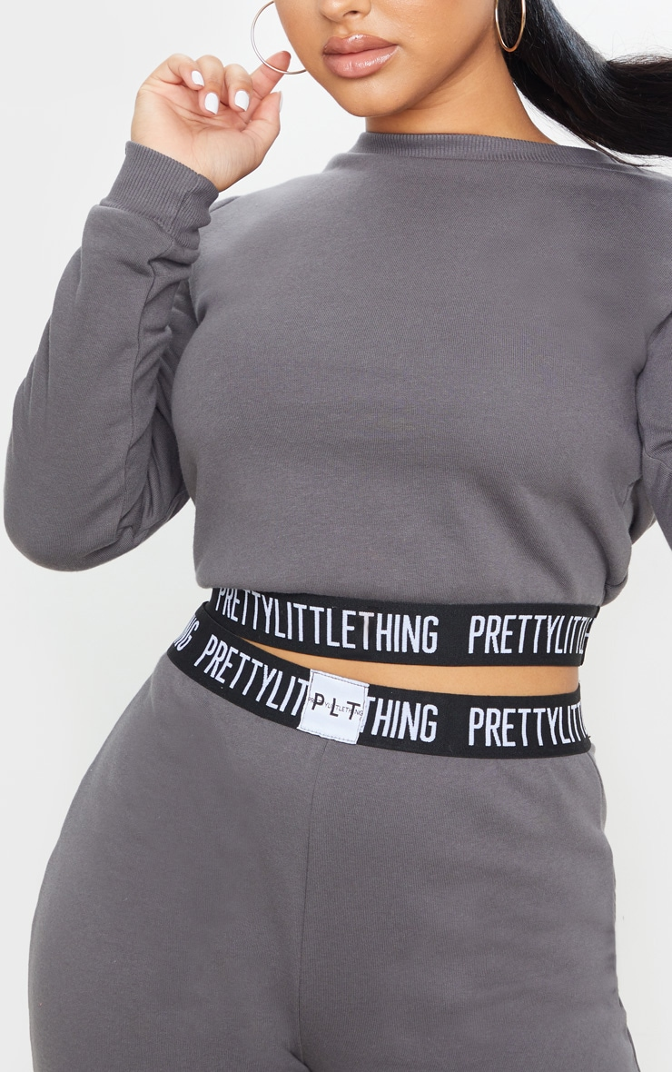 PRETTYLITTLETHING Petite Charcoal Lounge Sweat 5