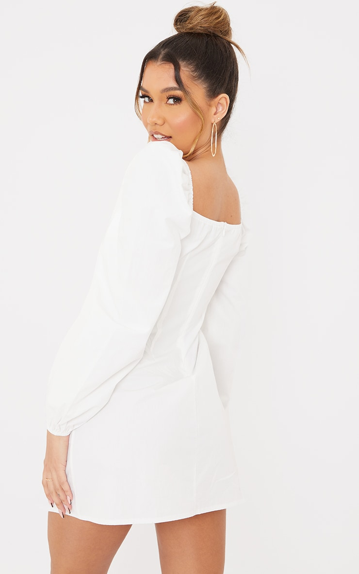 White Ruched Detail Puff Long Sleeve A Line Shift Dress 2