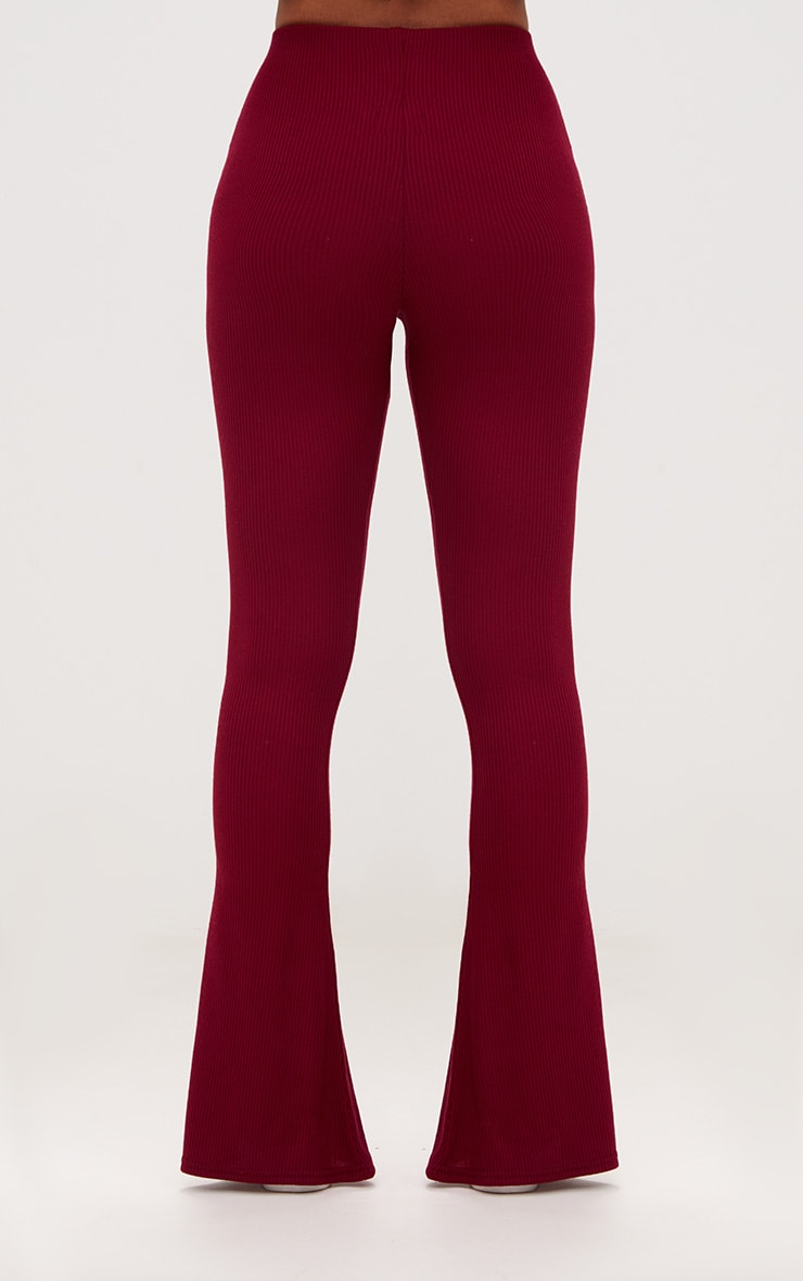 Burgundy Ribbed Flared Trousers 4