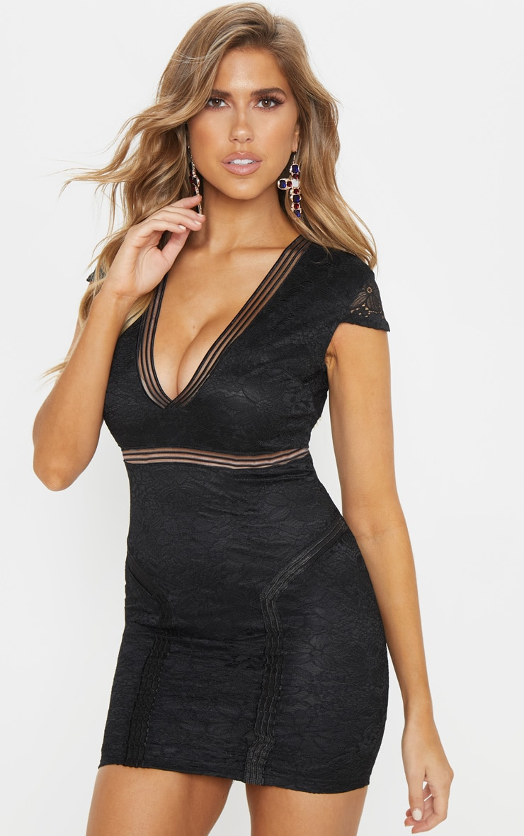Black Lace Mesh Lined Cap Sleeve Bodycon Dress 4